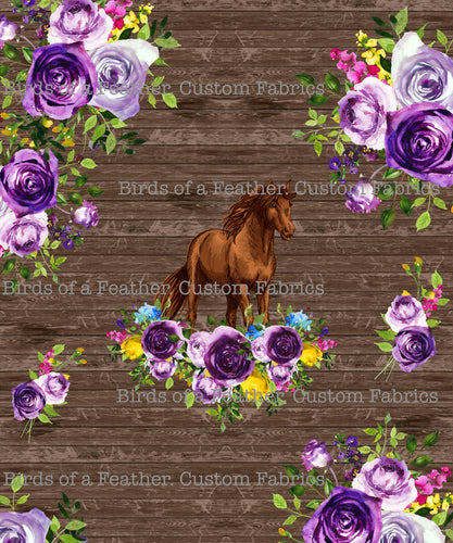 Wooden Floral Horse Panel