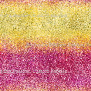 Red/Pink & Yellow Ombre Printed Glitter