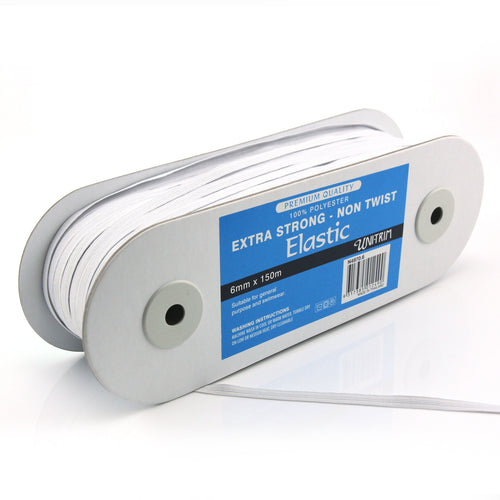UNI-TRIM 6mm Non-Twist Extra Strong White Elastic