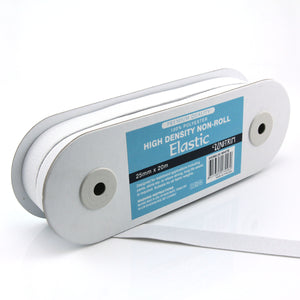 UNI-TRIM 25mm Non-Roll High Density White Elastic
