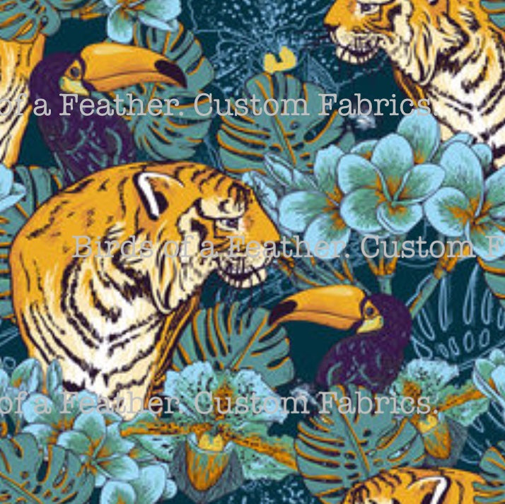 Tigers In Jungle Blue - Large Scale