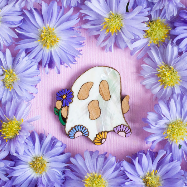 Petunia the Ghost Brooch