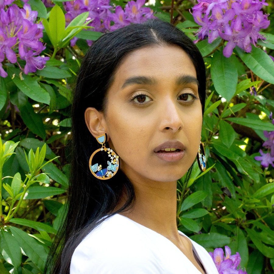 Blue Butterfly Hoop Earrings