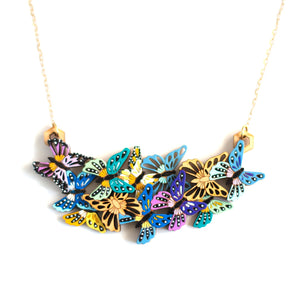 Butterfly Garden Necklace in Blue