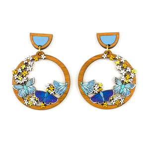 Blue Butterfly Hoops