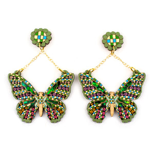 Gingham Butterfly Earring in Pistachio