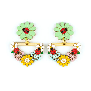 Ladybug Garden Statement Earrings