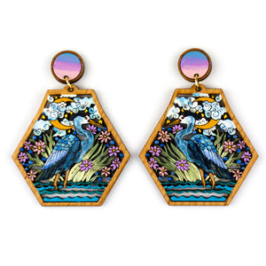 Midnight Heron Earring
