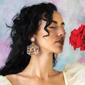Rose Tassel Statement Earrings