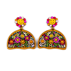 Smiley Face Flowers Earrings