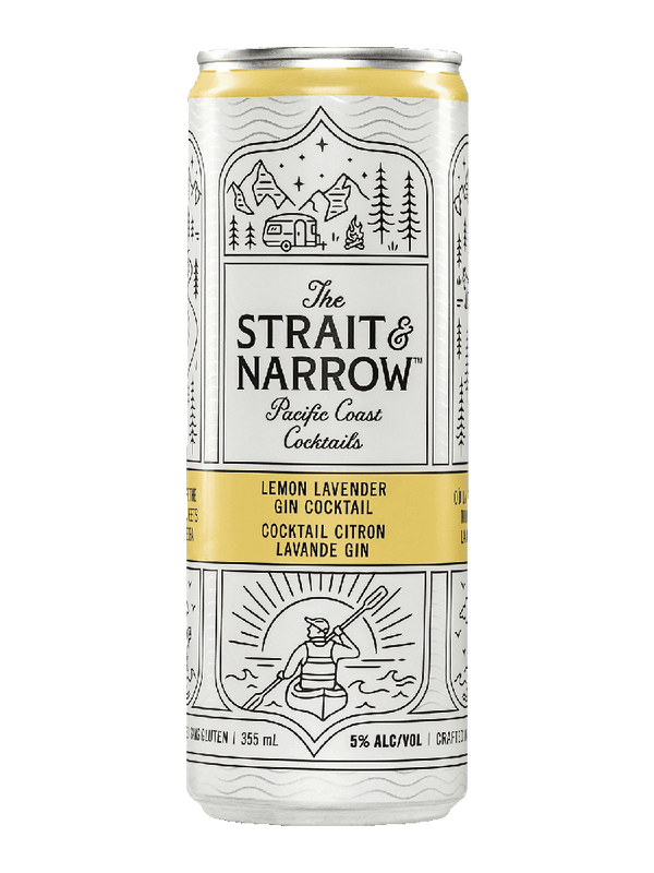Strait & Narrow Lemon Lavender Gin Cocktail - 6 x 355mL