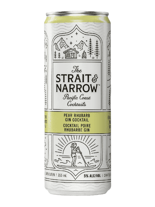 Strait & Narrow Pear Rhubarb Gin Cocktail - 6 x 355mL