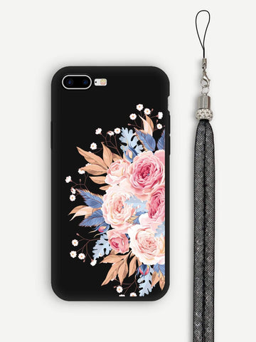 Black Floral iPhone Case With Lanyard