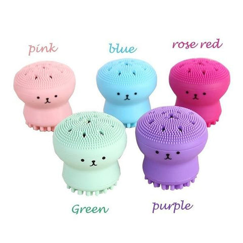 Facial Jellyfish Octopus Design Soft Silicone Exfoliator colors