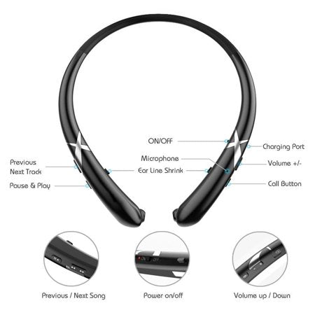 Bluetooth Wireless Retractable Neckband Earphones Headset Earbuds product details