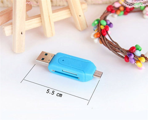 Universal 2 in 1 Micro USB USB OTG TF SD Card Reader for PC Phone size details