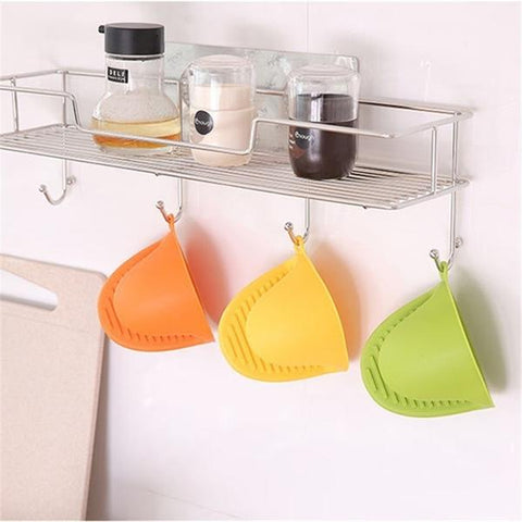 Heat Resistant Short Finger Hand Clip Mitt Pot Holder Silicone Glove