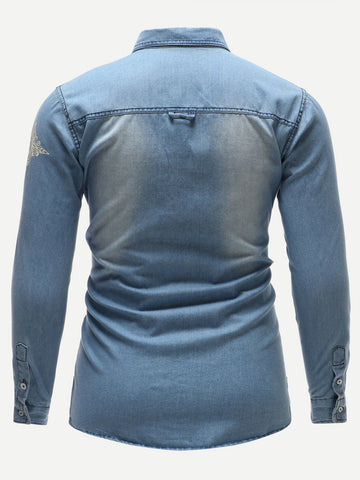 Men Tribal Print Single-Breasted Denim Long Sleeve Shirt