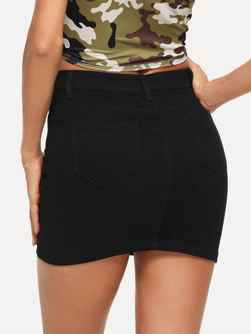 Mid Waist Skinny Denim Skirt black