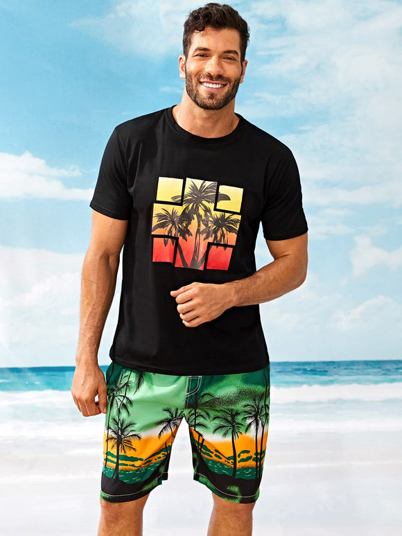 Geometric Coconut Trees T-shirt - ISLAND63