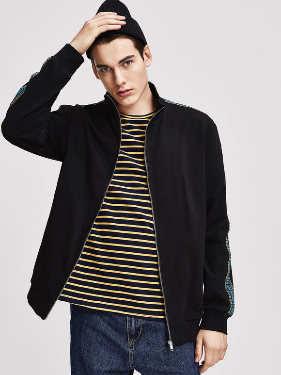 Black Zip Up Embroidered Tape Mock-Neck Jacket - ISLAND63
