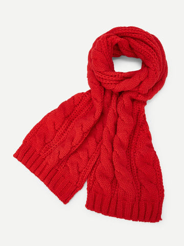 Cable Knit Scarf (Red)