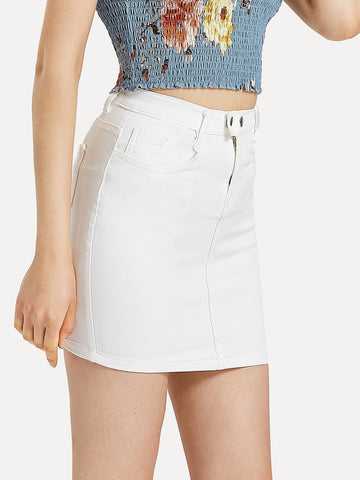 Mid Waist Skinny Denim Skirt white