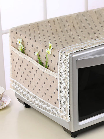 Beige Floral Pattern Linen Microwave Oven Dust Cover