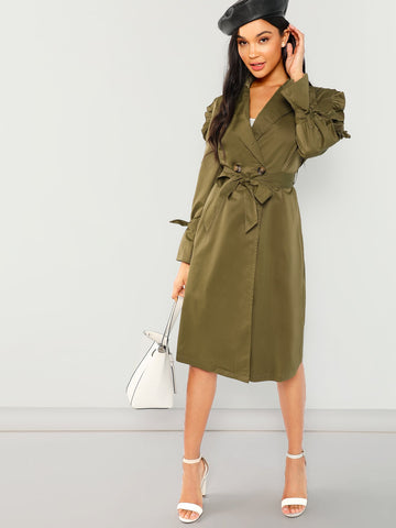 Ruffle Trim Belted Trench Coat