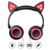Glowing LED Lights Cosplay Fancy Foldable Cat Ear Headphone for Kids - ISLAND63