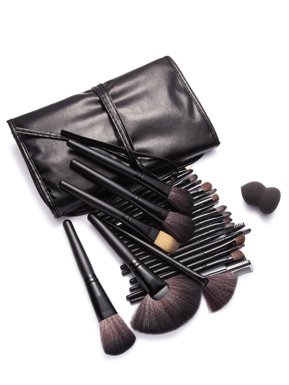 24pcs Black Pro-Makeup Brush Set with Leather Bag - ISLAND63