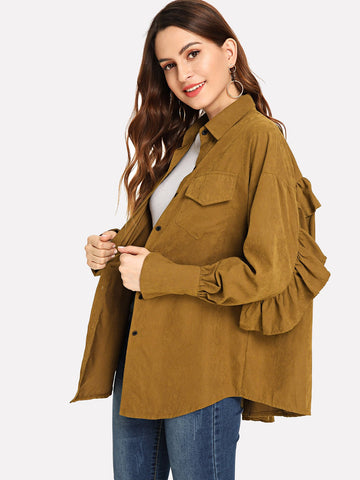 Frill Trim Solid Outerwear (Brown)