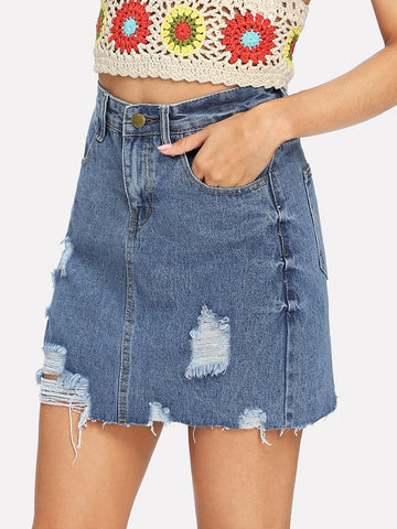 Blue Raw Hem Ripped Denim Skirt