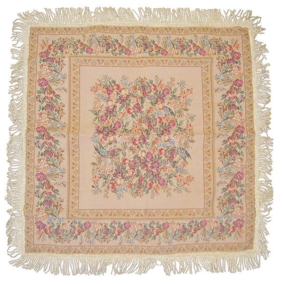 Floral Beige Square Tapestry Table Cloth - ISLAND63