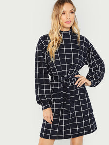 Mock Neck Self Belted Grid Dress (Navy) - ISLAND63