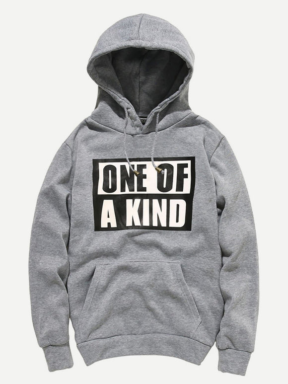 ONE OF A KIND Print Hoodie Men Hooded Sweatshirt (Gray)