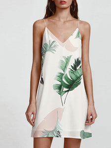 Palm Leaf V-Neck Cami Dress - ISLAND63