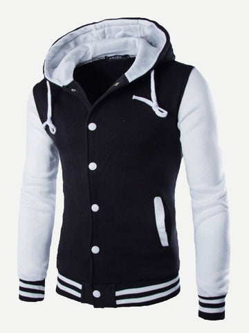 Men Cut And Sew Panel Hooded Jacket (Black/White)
