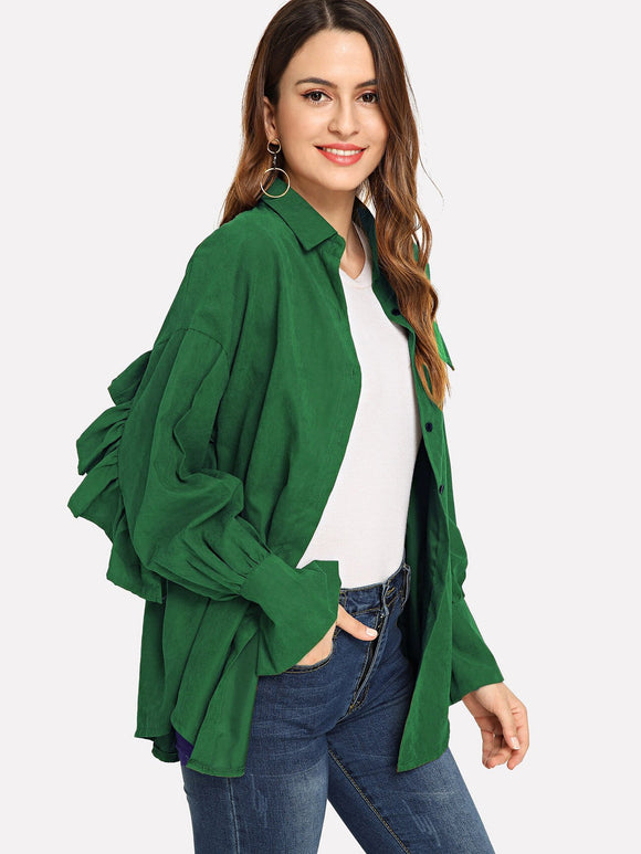 Frill Trim Solid Outerwear (Green) - ISLAND63