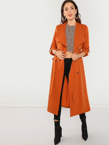 Waist Belted Double Breasted Waterfall Coat (Orange)