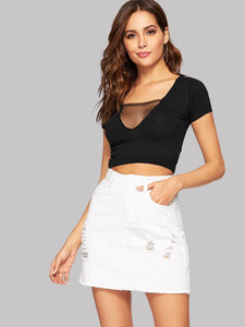 White Raw Hem Ripped Denim Skirt - ISLAND63