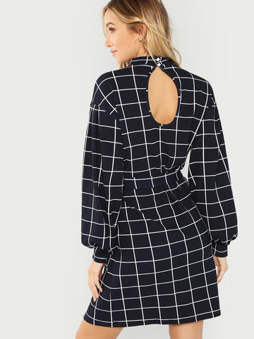 Mock Neck Self Belted Grid Dress (Navy)