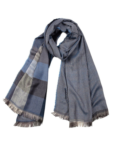 Men Fringe Hem Plaid Scarf (Blue)