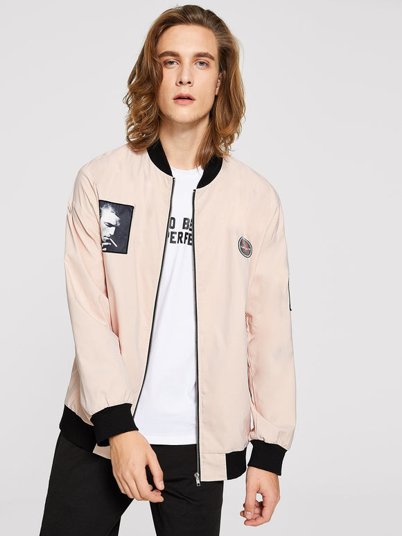 Men Badge Patched Bomber Jacket - ISLAND63