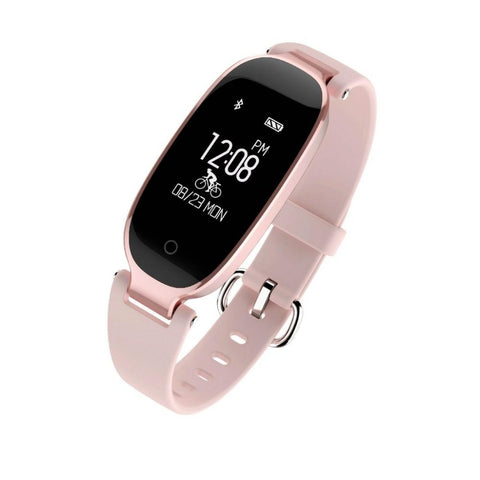 IP67 Waterproof Bluetooth Heart Rate Monitor Smartband Bracelet rose gold