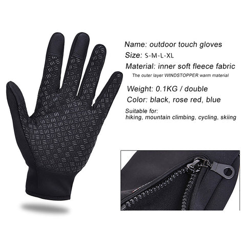 Unisex Touch Screen Ski Motorcycle Driving Winter Warm Gloves