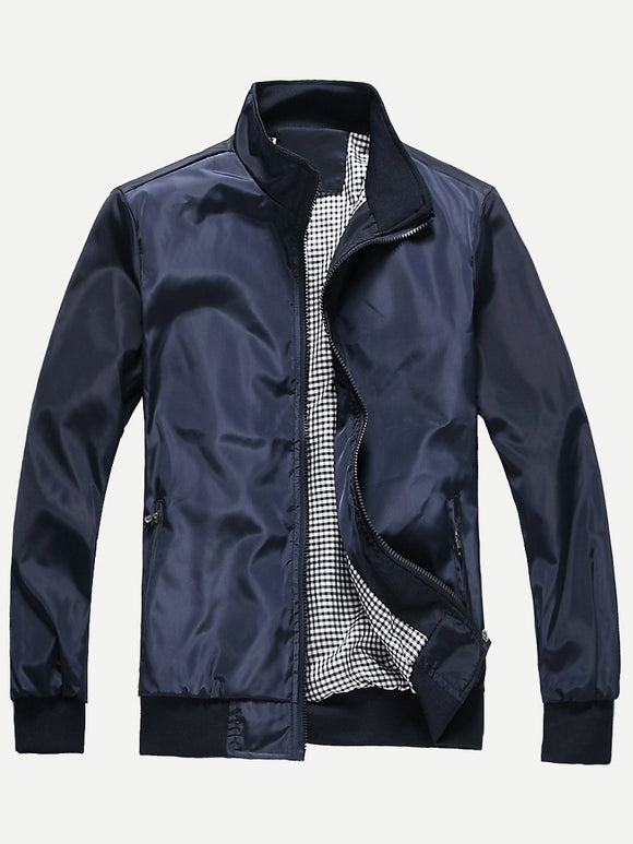 Men Plain Jacket (Navy) - ISLAND63