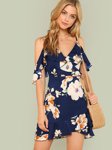Elle Cold Shoulder Floral Dress - ISLAND63