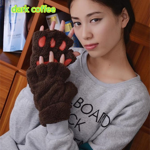 Cute Bear Paw Cat Paw Furry Mitten Gloves dark coffee
