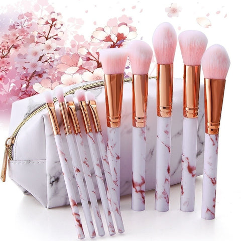 10Pcs Soft Marble Makeup Brushes pink